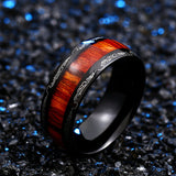 Black Ring with Dark Red Wood.