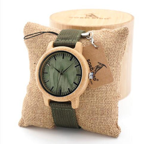 Mens Natural Wood -Green Nylon Strap in Wood box