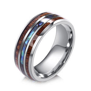 Men Rings Stainless Steel Wood Grain Fashion, Male Jewellery Gifts