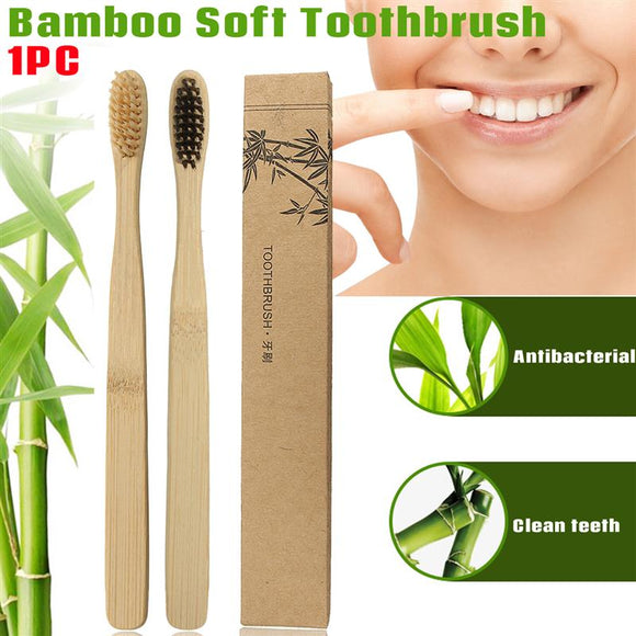 1PC Soft Fibre Environmentally Wood Toothbrush Bamboo ToothBrush