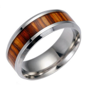Red Wood Ring For Men Stainless Steel