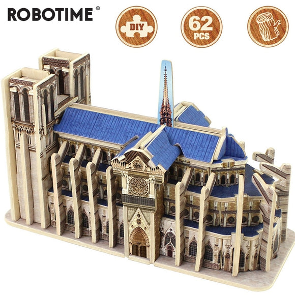 DIY 3D Wooden Notre Dame de Paris Puzzle Game