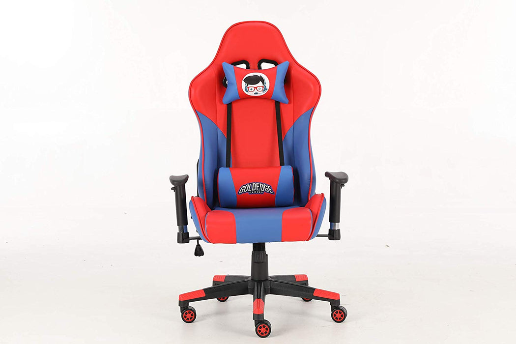 Fine Goldedge Gaming Video Game Ergonomic Comfortable Gaming Chair Pu Leather Blue Red Gmtry Best Dining Table And Chair Ideas Images Gmtryco