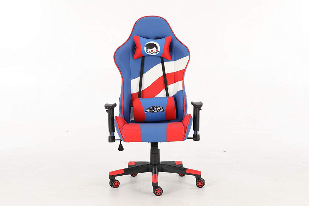 Groovy Goldedge Gaming Video Game Ergonomic Comfortable Gaming Chair Pu Leather Red White Blue Gmtry Best Dining Table And Chair Ideas Images Gmtryco