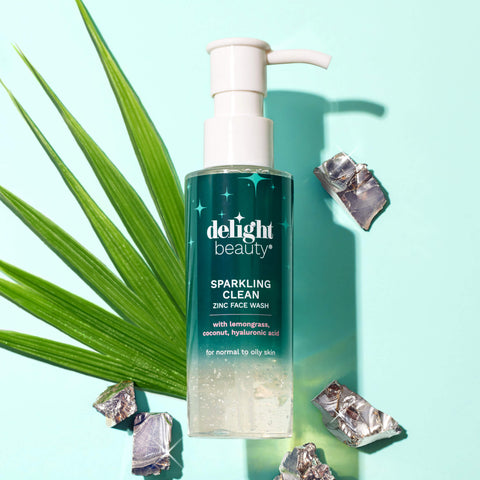 sparkling clean zinc face wash surrounded by fresh lemongrass and zinc pieces