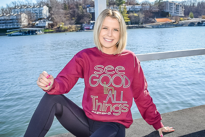 See Good In All Things Crewneck Maroon Sweatshirt
