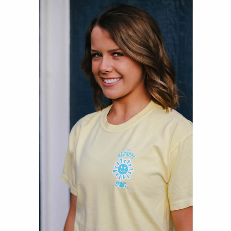 The Be Happy Brand's Yellow Logo T-Shirt