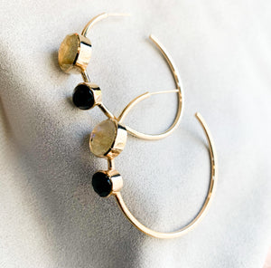 Two Stone Labradorite Onyx Hoops