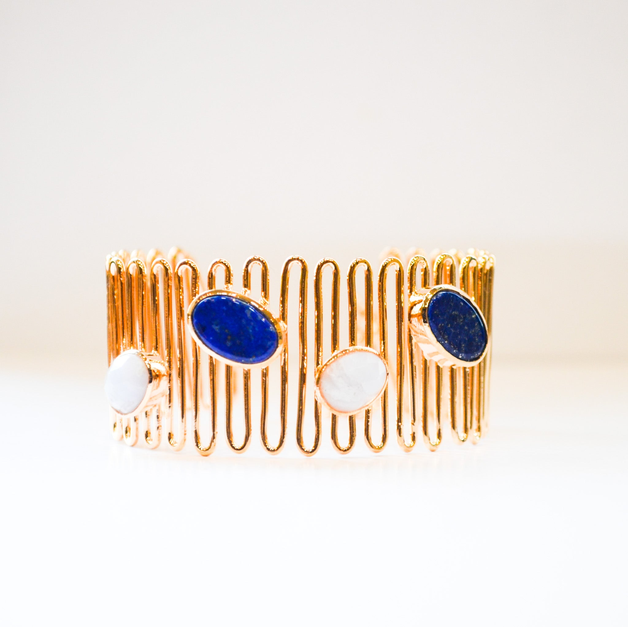 Lapiz & Lace Blue Agate Wave Cuff