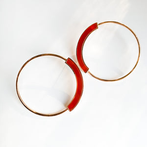 Red Agate Grande Hoops