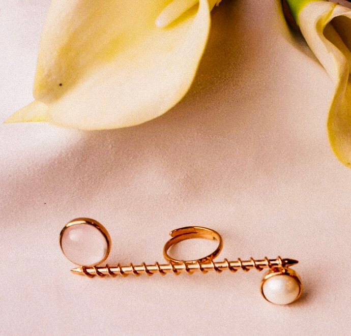 Rose Quartz & Pearl Canes Ring