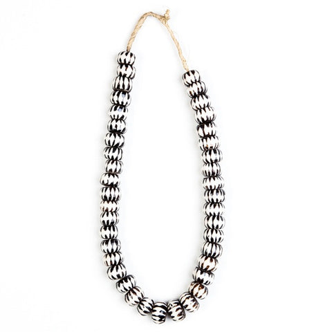 Necklace Large Bone Beads Zig Zag Design