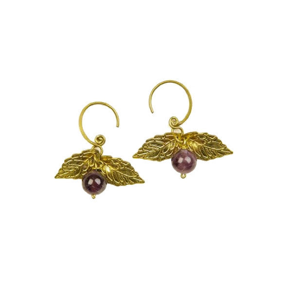Cage d'Amour Brass Earring with Amethyst stone