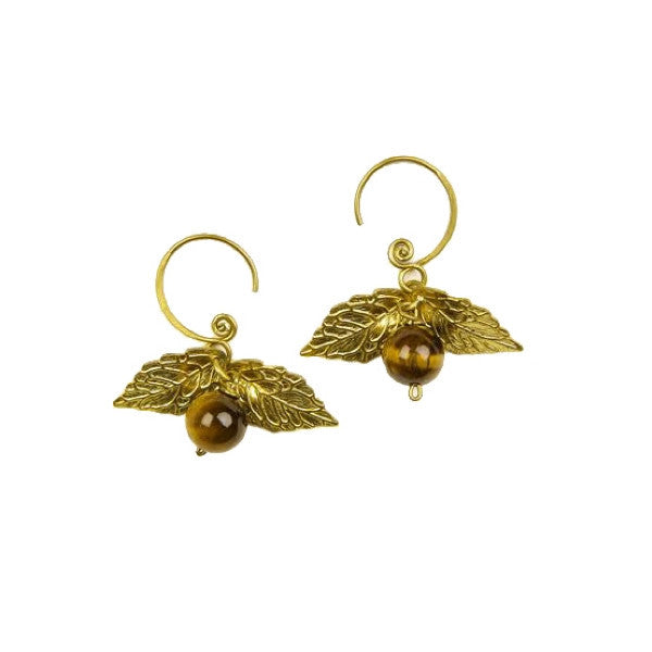 Brown Cage d'Amour Brass Earring with Tiger Eye stone