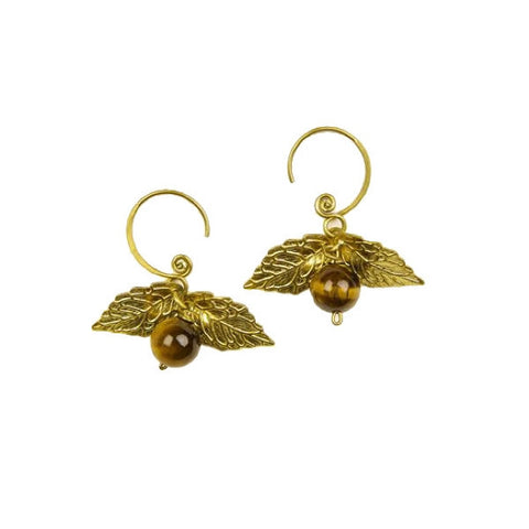 Brass Earrings Cage d'Amour with Tiger Eye stone