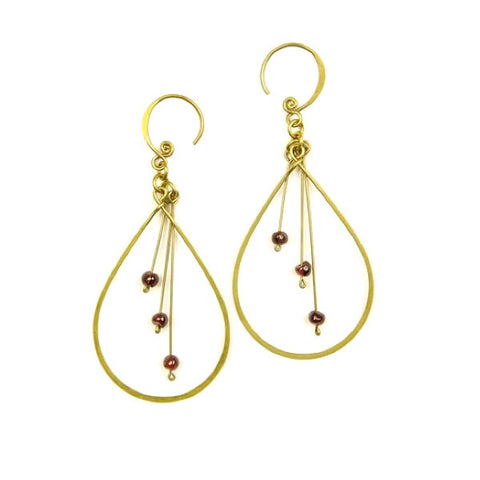 Brass Earrings Large Drope Shape with Red Garnet