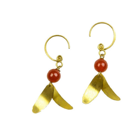 Brass Earrings with Carnelian Stone and Leaves Design