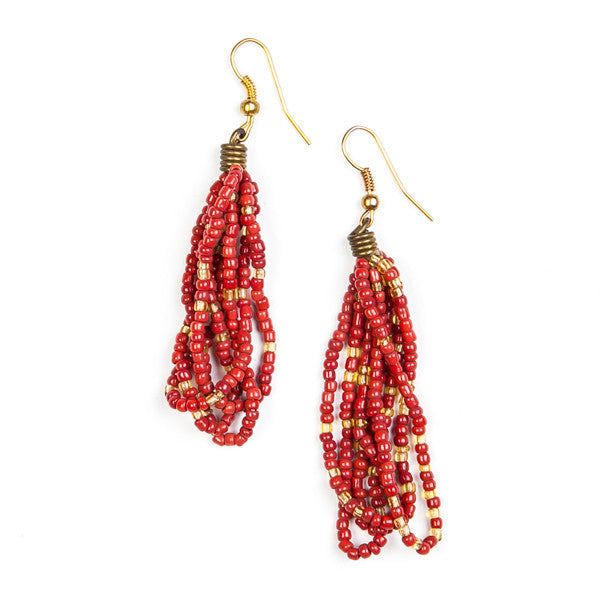 Maasai Drop Earrings Red Gold