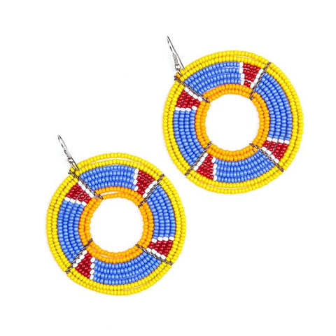 Maasai Round Shield Earrings MIXED colours