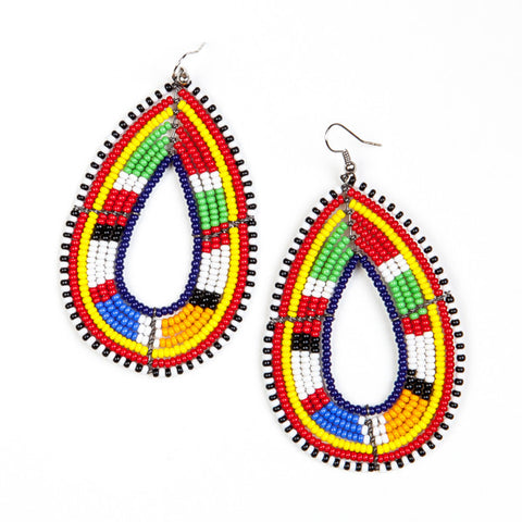 Maasai Oval Shield Earrings Mixed Colours