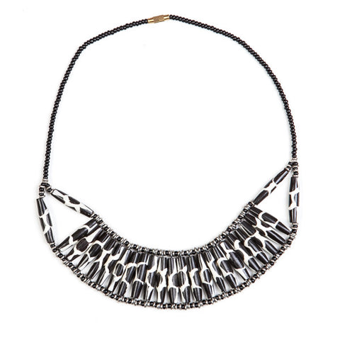 Bone Choker Necklace Zebra Print