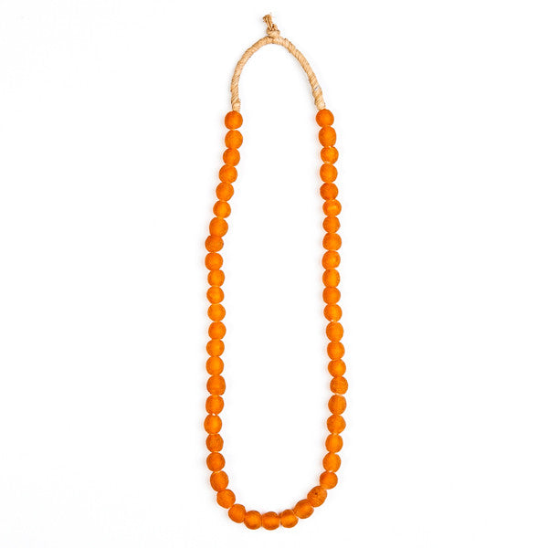 Recycled Glass Beads Necklace Orange