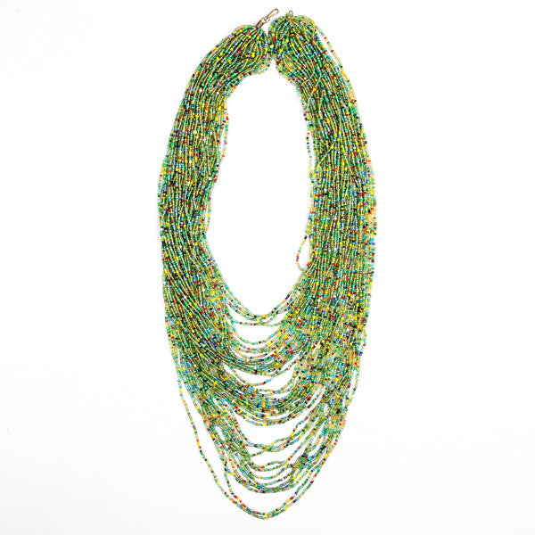 Maasai Glass Bead Necklace Green and Yellow Extra Long