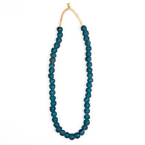 Recycled Glass Beads Necklace Dark Blue