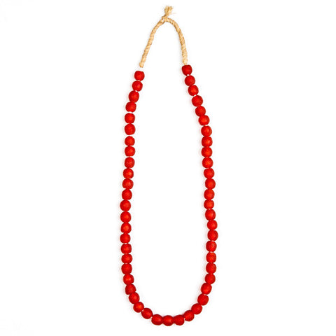 Recycled Glass Beads Necklace Red