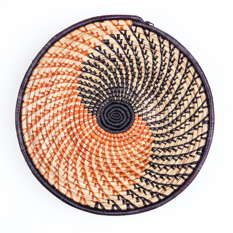 Nubian Basket Orange and Brown Spiral Natural