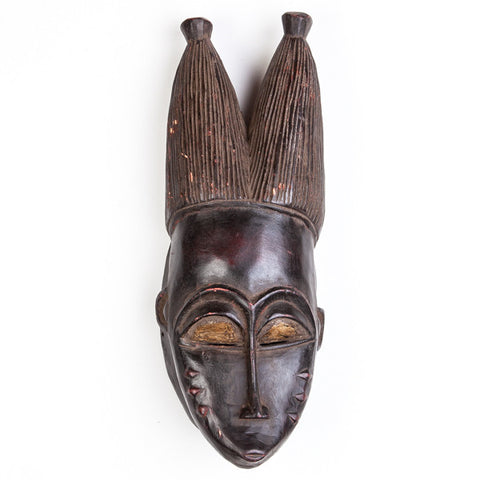 African Mask Black Wood Long Face