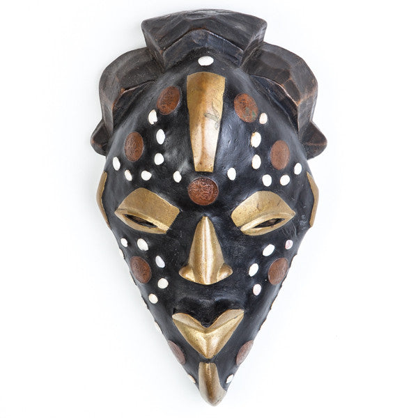 African Mask Black Wood and Brass Decoration