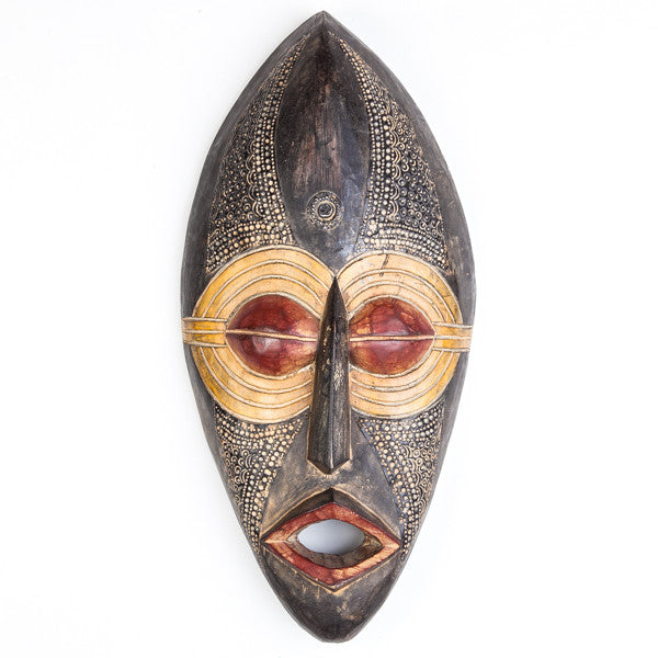 African Mask Dark Wood and Large Eyes Carving