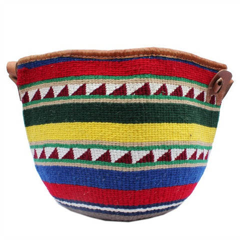 African Wool and Leather Bag with Green Red and Yellow Pattern