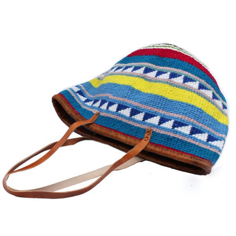 African Wool and Leather Bag with Blue and Yellow Pattern