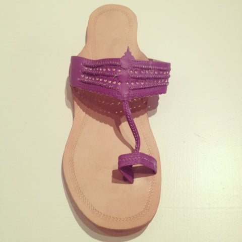 Mumbai Leather Sandals Purple