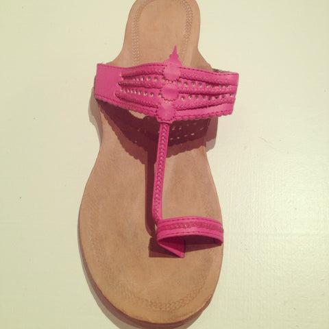 Mumbai Leather Sandals Fuchsia