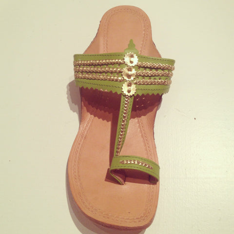 Mumbai Leather Sandals Green