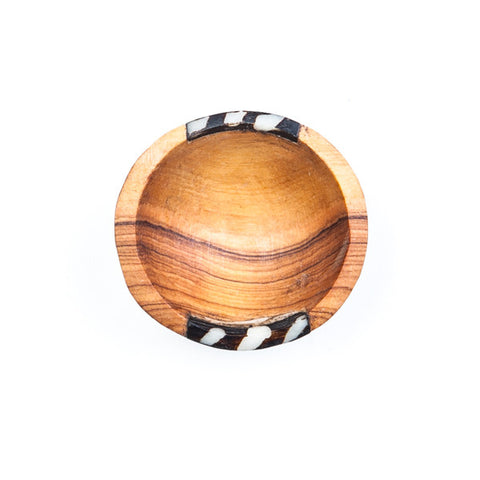 Small Round Hand carved Olive Wood Bowl with Bone Decoration