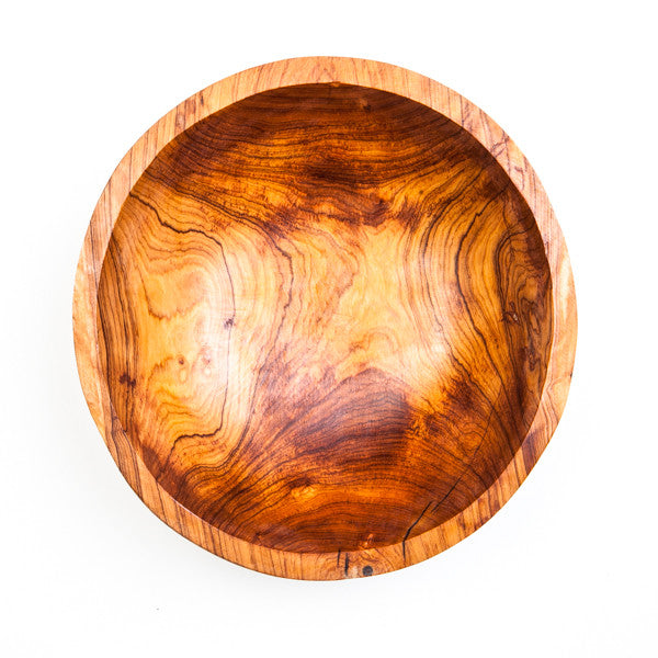 Round Hand Carved Olive Wood Bowl