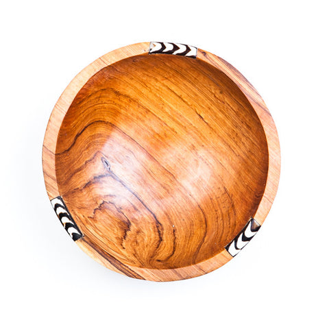 Large Round Hand carved Wooden Bowl with Bone Decoration