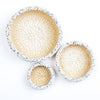 Palm Leaf Basket with Bead decoration White Set