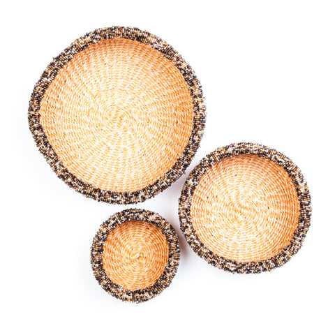 Palm Leaf Basket with Bead decoration Cream Set