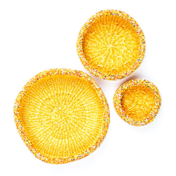 Palm Leaf Basket with Bead decoration Yellow Set