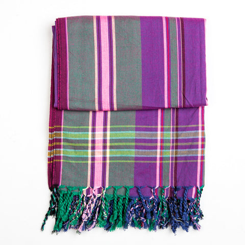 Kikoy Purple Green Large Stripes