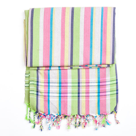 Kikoy White Pink Blue Large Stripes