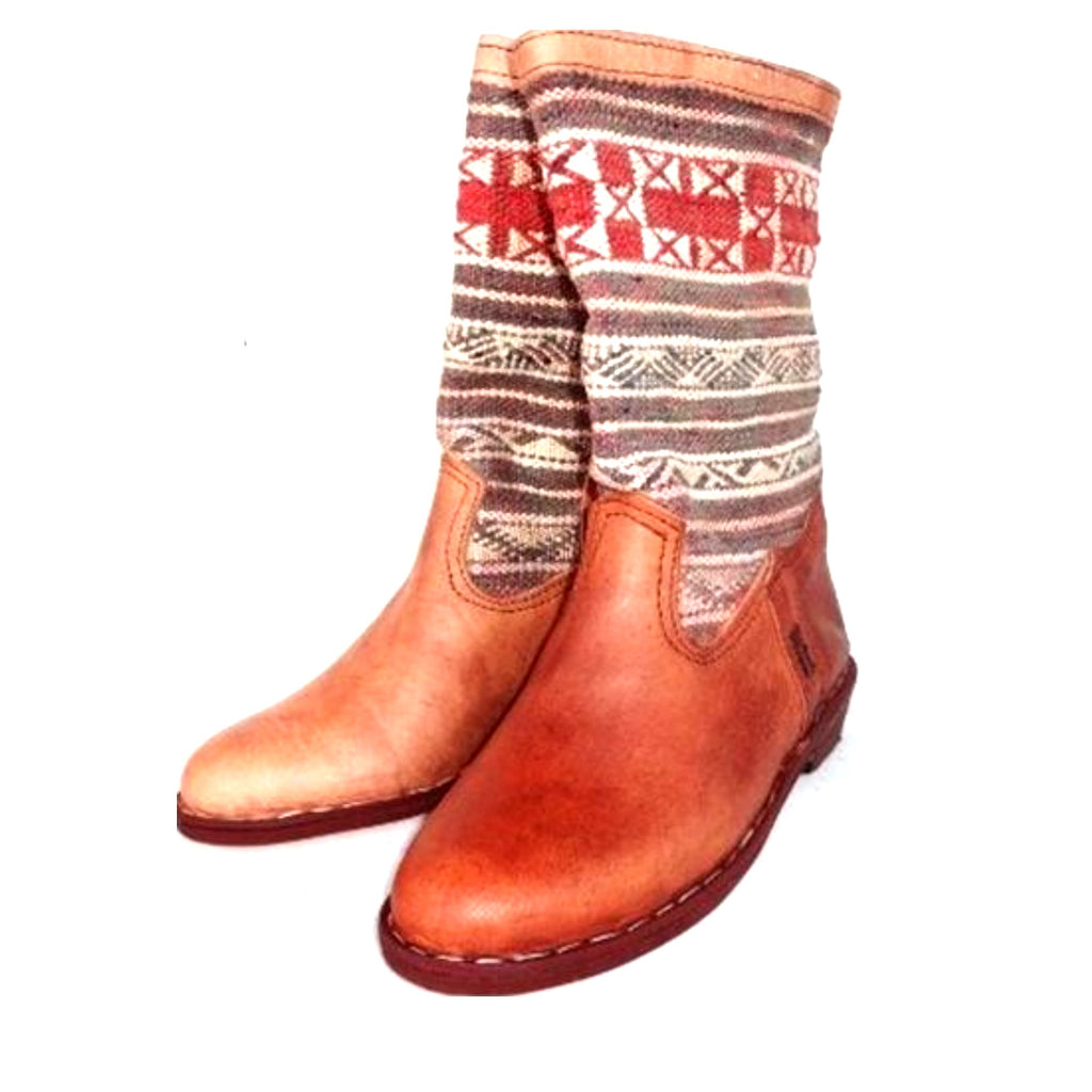 white and red moroccan kilim boots