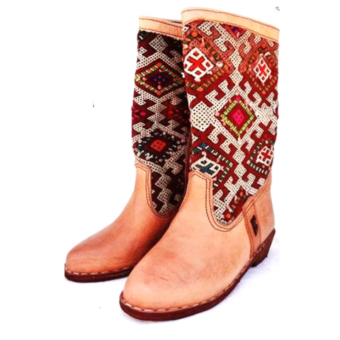 Classic Red Kilim Carpet Boots