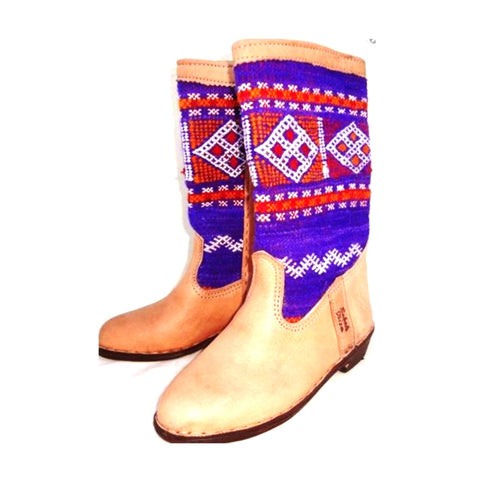Blue and Red Kilim Carpet Boots