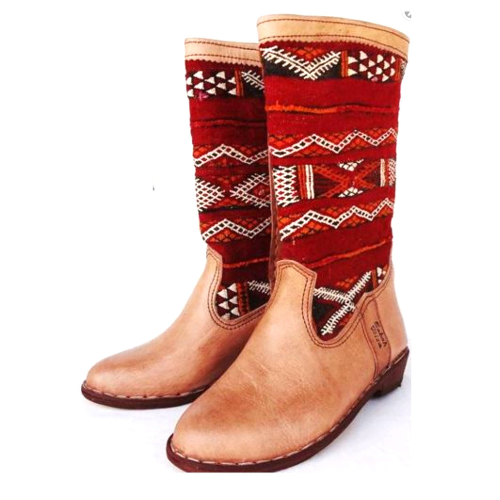 Traditional Kilim Moroccan Boots